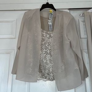 Gorgeous cream pant suit with shell & jacket